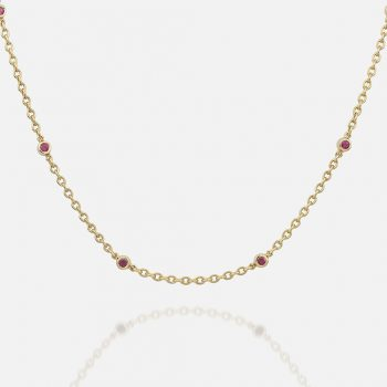 Necklace in yellow gold with rubies.