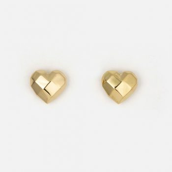 "Pair of ""Heart Faces"" earrings in yellow gold."