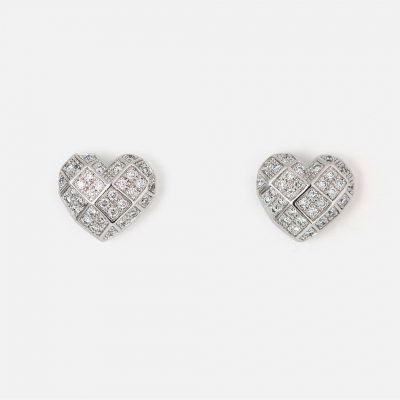 "Pair of ""Heart Faces"" earrings in white gold with diamonds."