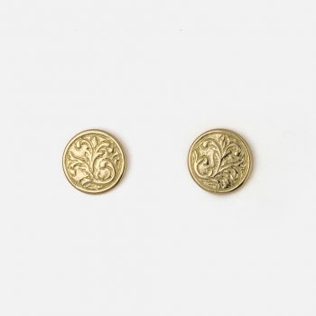 "Pair of ""Florão"" earrings in yellow gold."
