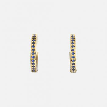 """Pair of """"Ceilão"""" earrings in yellow gold with Celanese sapphires."""