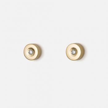 """""""Pair of large """"One"""" earrings in yellow gold with diamonds. """""""
