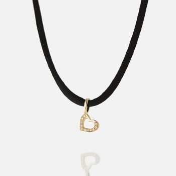 """""""Heart Links"""" Pendant in yellow gold with diamonds."""