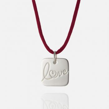"""Love"" pendant in silver."