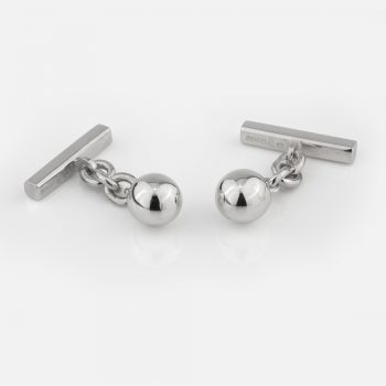 """Silver """"Ball"""" cufflinks with chain and bar ends"""