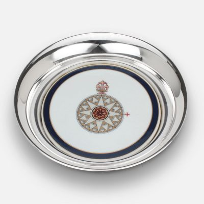 """""""Diogo Homem 1568"""" Compass Rose coaster in silver and porcelain."""