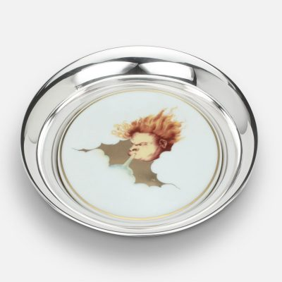 """Winds wine coaster """"Greco"""" in silver and porcelain"""