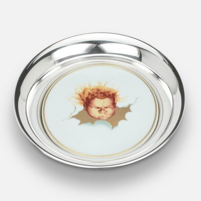 """Winds wine coaster """"Siroco"""" in silver and porcelain."""