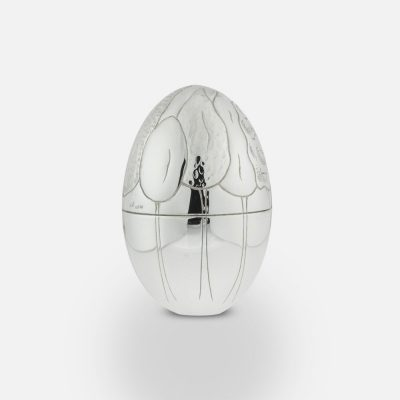 """2011 """"Forest"""" silver egg."""
