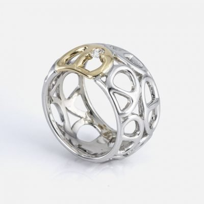 'Elo Náutico' ring in yellow gold with diamond