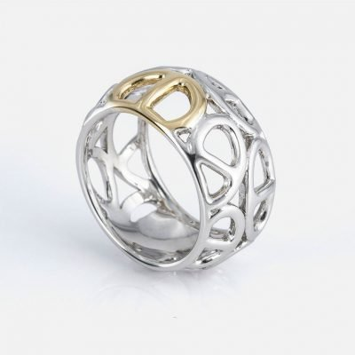 'Elo Náutico' ring in yellow gold and silver