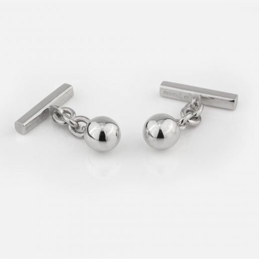 Silver 'Ball' cufflinks with chain and bar ends