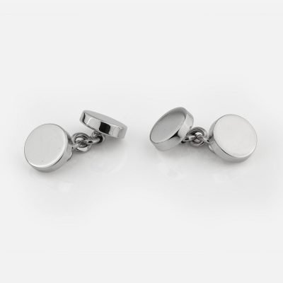 Silver cufflinks with chain link