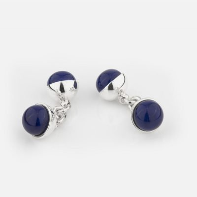 Silver cufflinks with dark blue porcelain