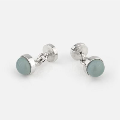 Silver cufflinks with light blue porcelain