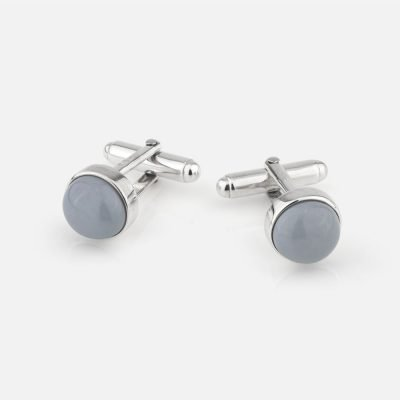 Silver cufflinks with grey porcelain
