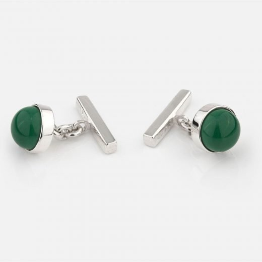 Silver cufflinks with green porcelain
