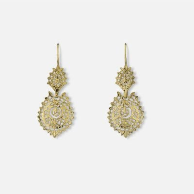 Silver gold plated 'Queen' filigree earrings