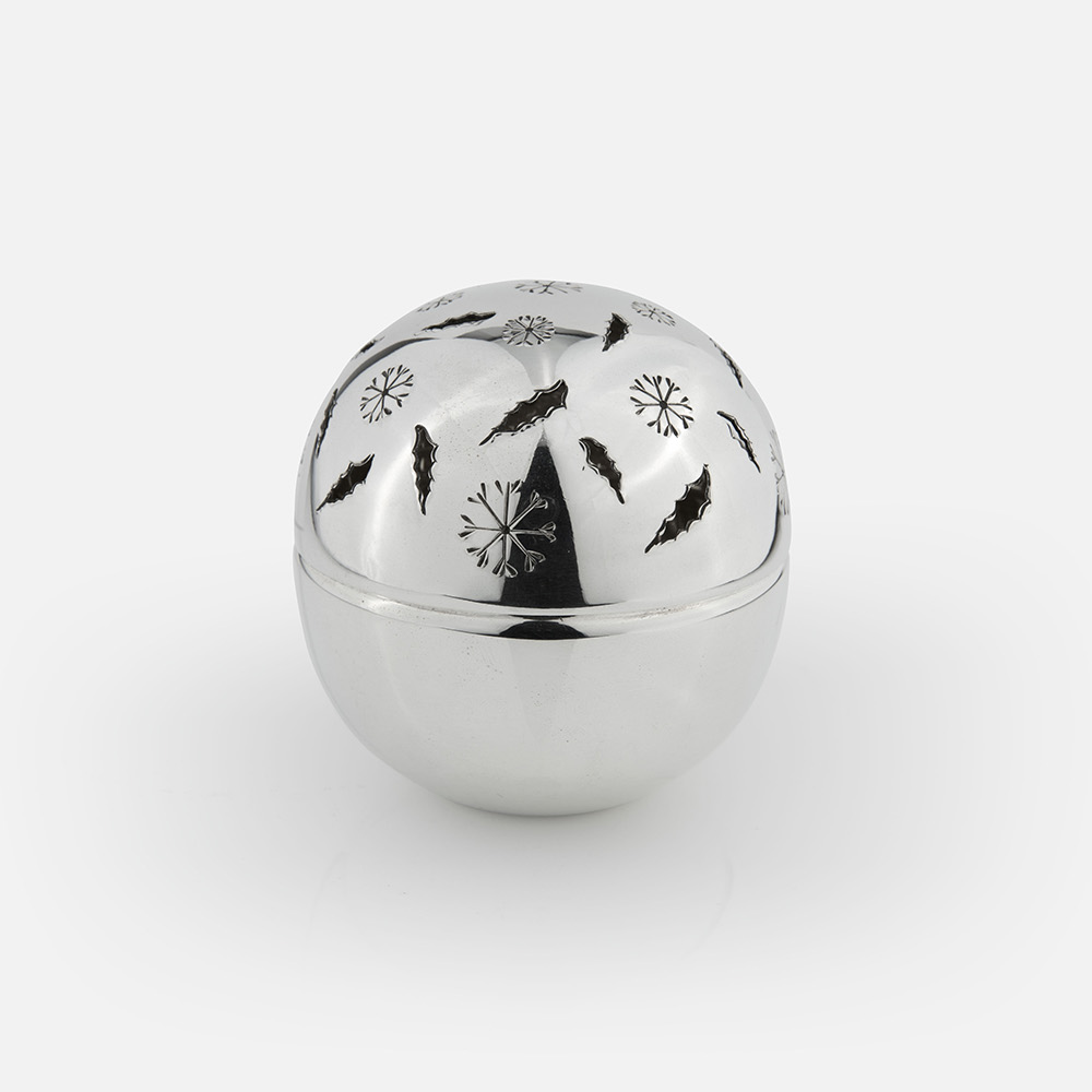 """Winter"" silver pomander ball"