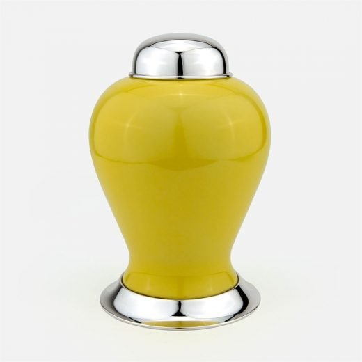 Yellow large pot in silver and porcelain