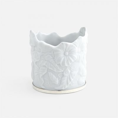 'Ipomeia' candle-holder in porcelain and silver