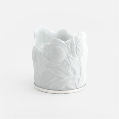 'Tulipa' candle-holder in porcelain and silver