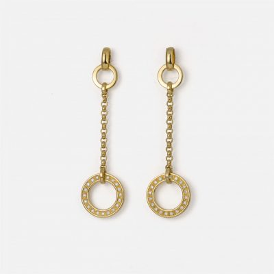 """Cordão Português"" earrings in yellow gold with diamonds"