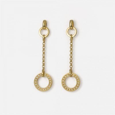 'Cordão Português' earrings in yellow gold with diamonds