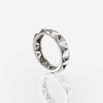'Les Pyramides' ring 5 mm in white gold