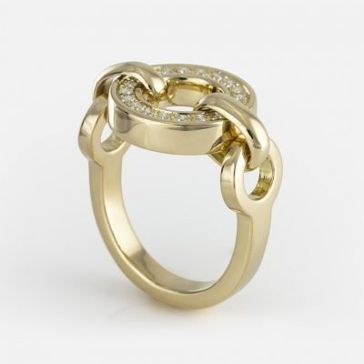 'Cordão Português' ring in yellow gold with diamonds