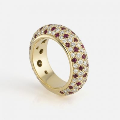 'Fancy' ring in yellow gold with rubies and diamonds