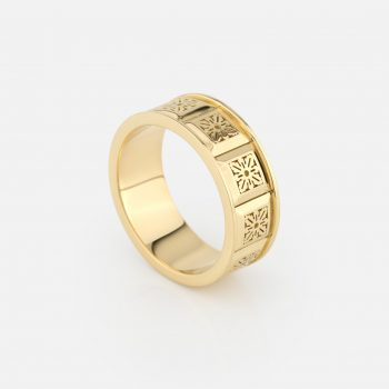 """Azulejo Português - Alecrim"" ring in yellow gold."