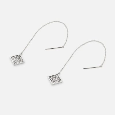 """Azulejo Português - Costa do Castelo"" pair of earrings in silver."
