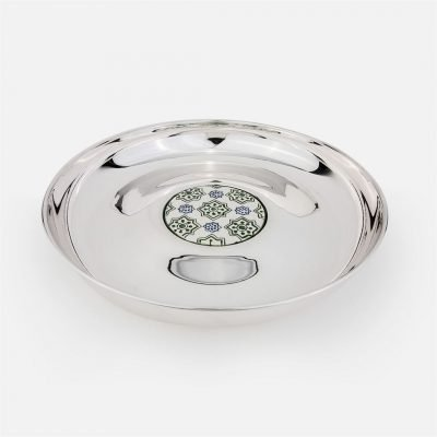 Round salver 'Santa Catarina' 33cm in silver with portuguese tile