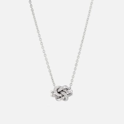 'Knot Me' necklace in white gold with diamonds