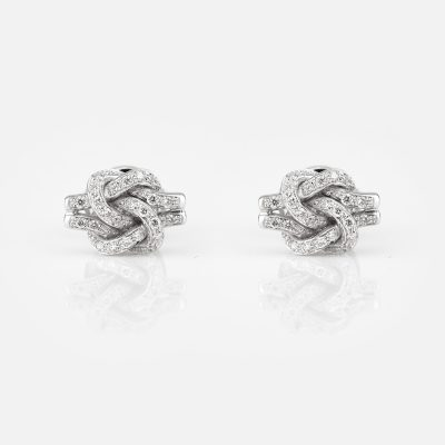'Knot Me' earrings in white gold with diamonds