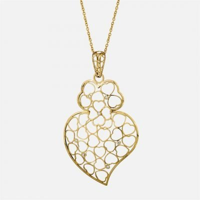 'Love Story' necklace with pendant in gold and diamonds