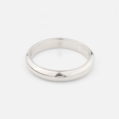 Half-round wedding band in white gold