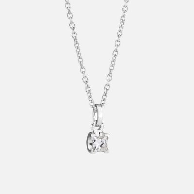 """Princess"" necklace in white gold with diamond"