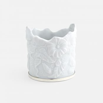 """Ipomeia"" candle-holder in porcelain and silver"