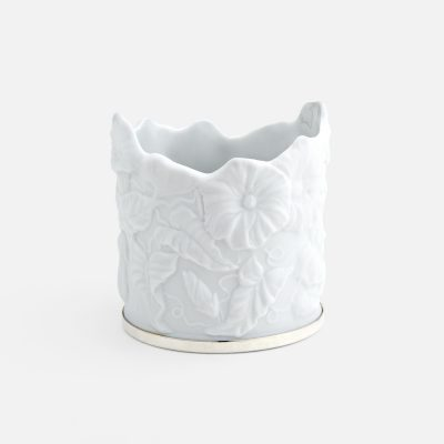 """""""Ipomeia"""" candle-holder in porcelain and silver"""
