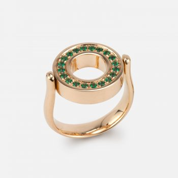 """Inverso"" reversible ring in gold with diamonds and green topaz"