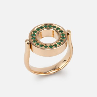 """""""Inverso"""" reversible ring in gold with diamonds and green topaz"""