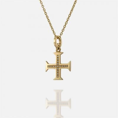 'Boa Esperança' yellow gold chain and cross with diamonds