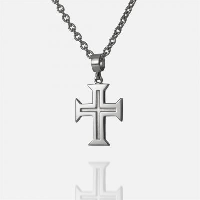 'Boa Esperança' white gold chain and cross for men