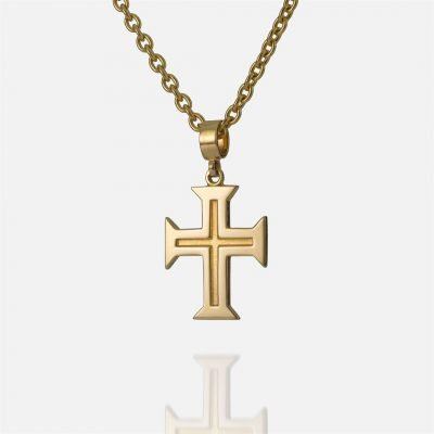 'Boa Esperança' yellow gold chain and cross for men