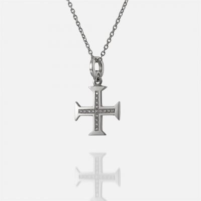 'Boa Esperança' white gold chain and cross with diamonds