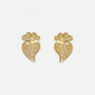 Yellow gold 'Heart of Viana' filigree pair of earrings