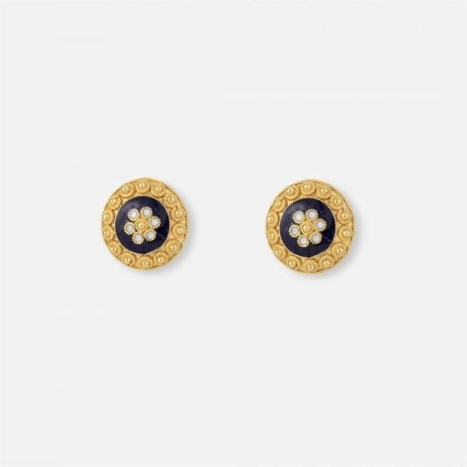 Pair of filigree earrings in enamel and yellow gold