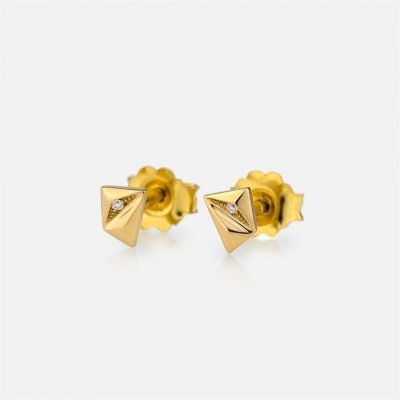 Small 'Les Pyramides' pair of earrings in yellow gold and diamonds